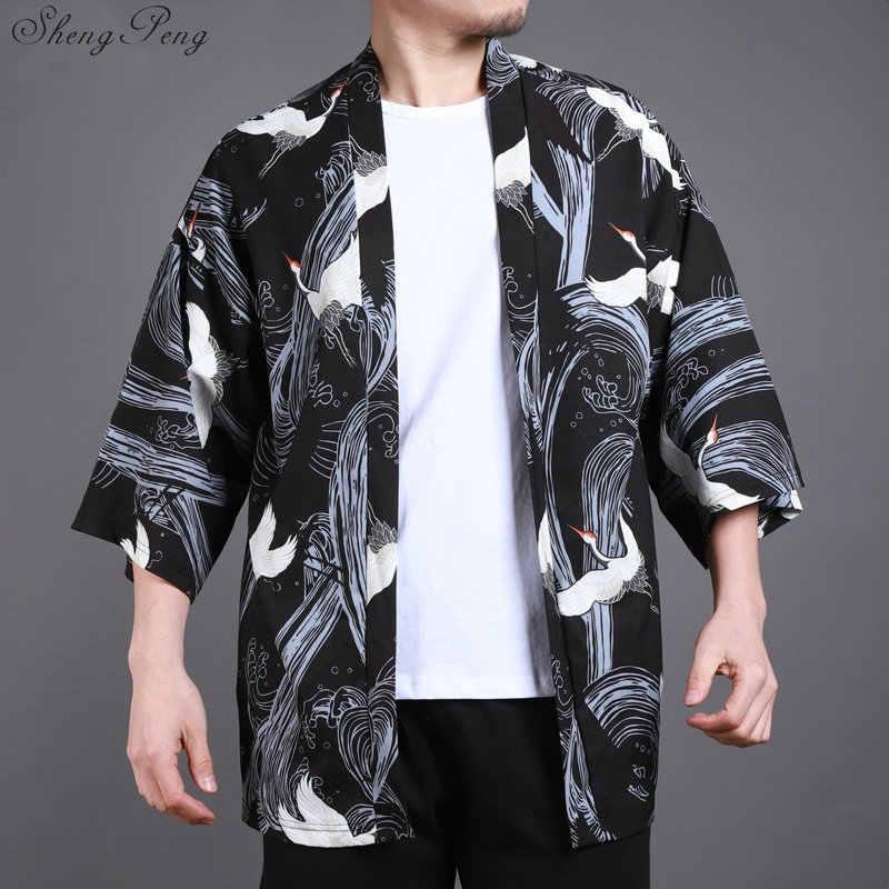Традиционная китайская одежда для мужчин повседневные свободные кардиганы кимоно кардиган японское кимоно мужчин haori мужской юката V1422