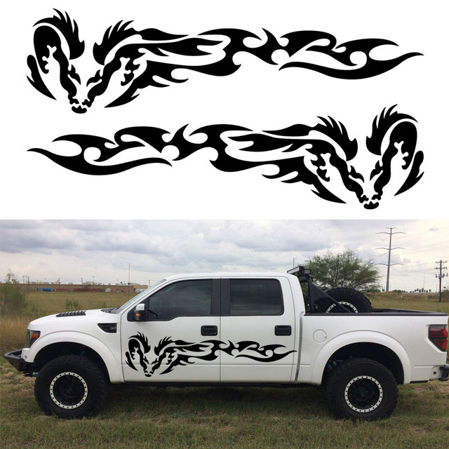 Power Wagon Stickers >> 2pcs Tribal Dragon Wing Vinyl Graphic Kits Stickers Decal Ram Car Truck Boat Door Decor-in Car ...
