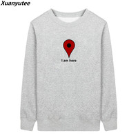 Xuanyutee I AM HERE Men Hoodies Autumn Winter Fleece Cotton Embroidery Full Sleeve O Neck Brand