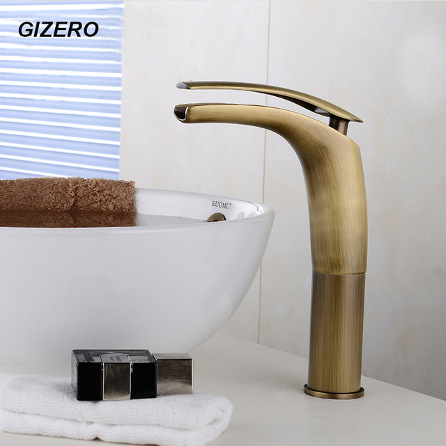 New Arrival Antique Copper Faucet Bathroom Waterfall Taps Basin Countertop  Deck Mounted Coldu0026Hot Mixer Crane ZR215