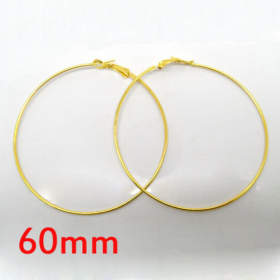 wholesale 20 Pcs Gold Basketball Wives Earring Hoops Dangle Drop 60mm Dia.(W01608 )