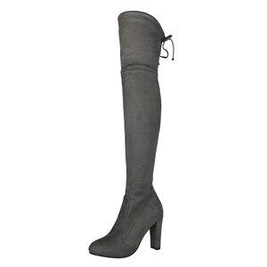 Image 2 - Üst Faux süet kadın uyluk yüksek çizmeler streç ince seksi moda diz çizmeler üzerinde kadın yüksek topuklu ayakkabı siyah gri şarap kadehi çıplak
