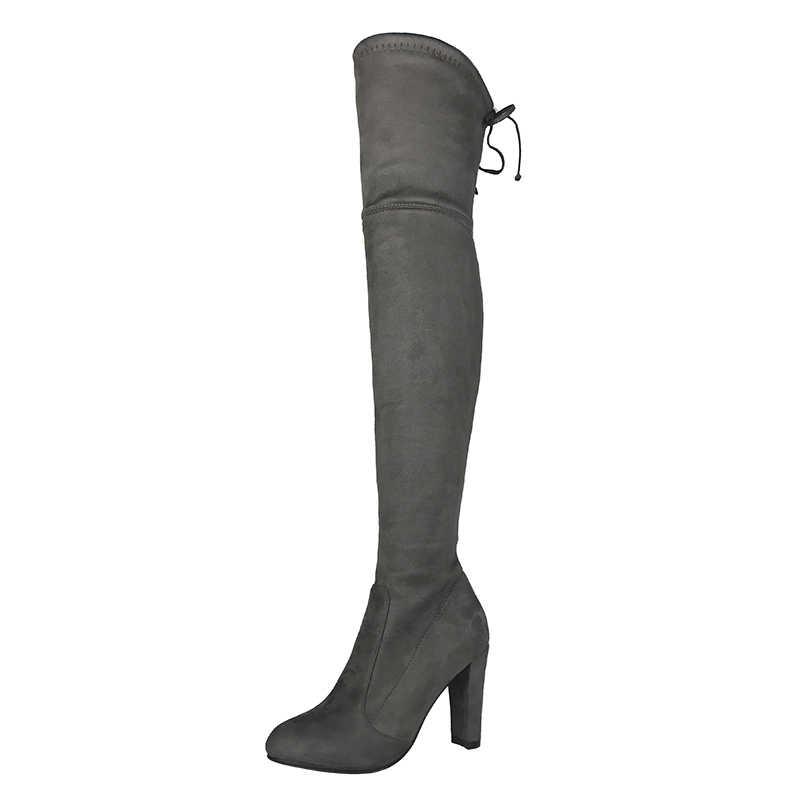 Üst Faux süet kadın uyluk yüksek çizmeler streç ince seksi moda diz çizmeler üzerinde kadın yüksek topuklu ayakkabı siyah gri şarap kadehi çıplak