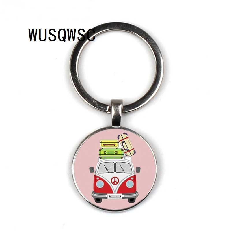 WUSQWSC Exquisite Handmade Glass Gem Hippie Peace Sign Van Bus Mens Keychain Quality Pendant Car Ke Ychain Ring Holder