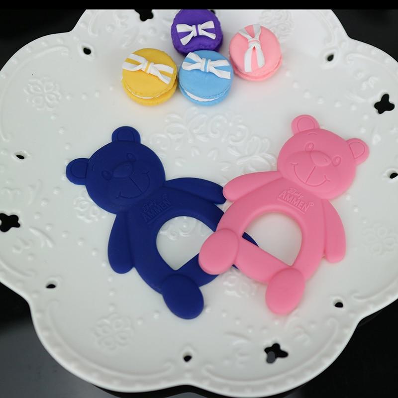 1 бр. Бебешка тениска новородено бебе играчка сладко мече бебе храна хранителен клас силикон безопасност хапене гумен цвят карикатура бебешки зъби 3 месеца