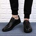 Плюс Размер EU38-48 Люксовый Бренд Полный Зерна Натуральной Кожи Плоские Повседневная Обувь Удобная узелок Прогулки Дышащий Мокасины