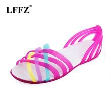 Women Sandals 2019 Summer Fashion Candy Color crocse Women Shoes Peep Toe Stappy Beach good Rainbow