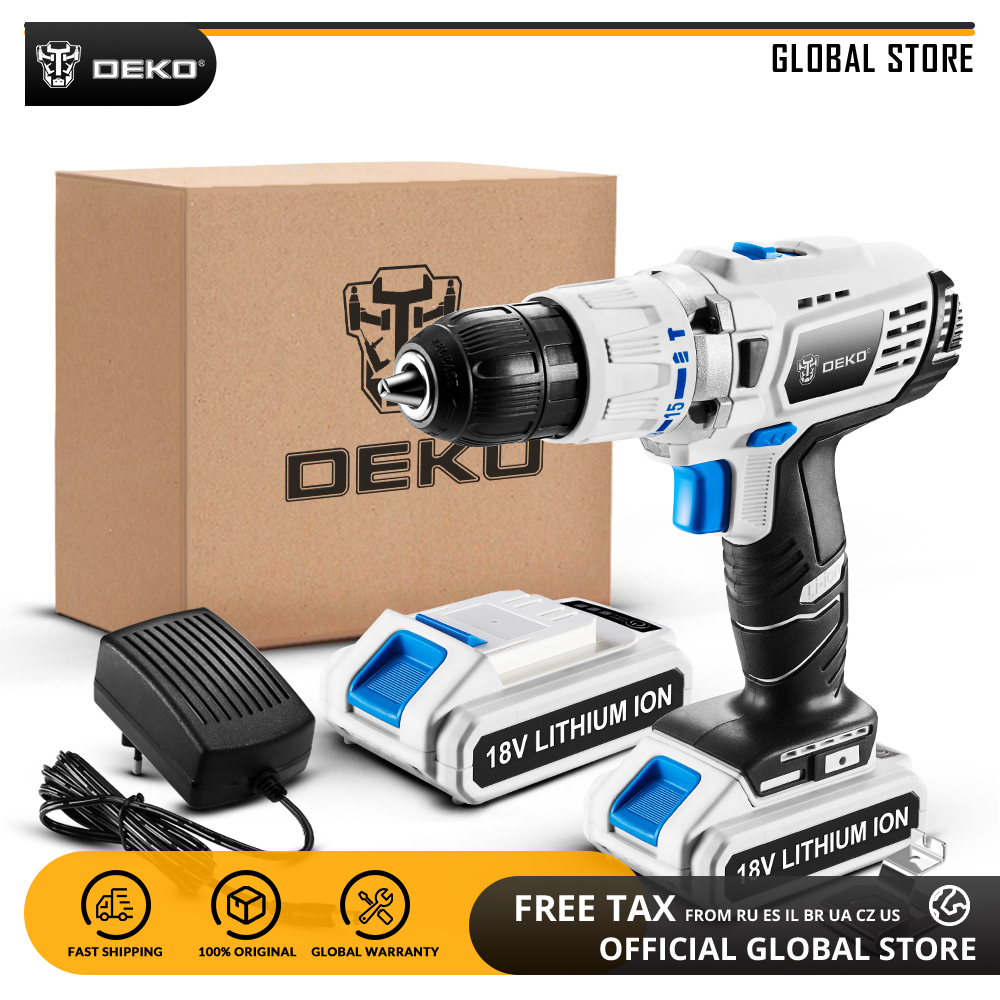 DEKO GCD18DU3 18V Impact Electric Screwdriver Cordless Drill Variable Speed Mini Power Driver With LED Light 2 Lithium Battery