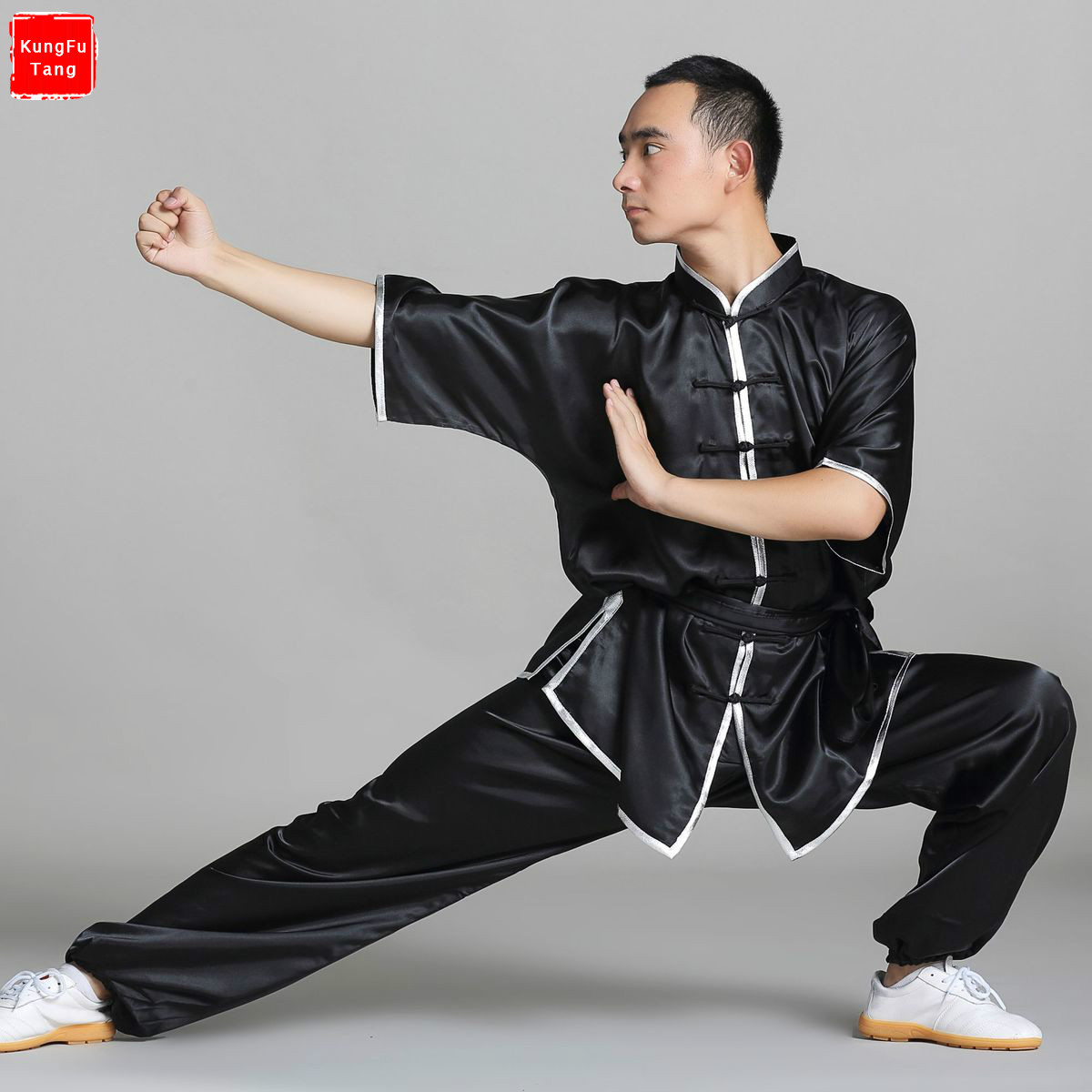 цена Black Martial Arts Uniforms Short Sleeve Taiji Clothes Tai Chi Suits Wushu Garment Tang Suit Kung Fu clothing Top+pants Set онлайн в 2017 году
