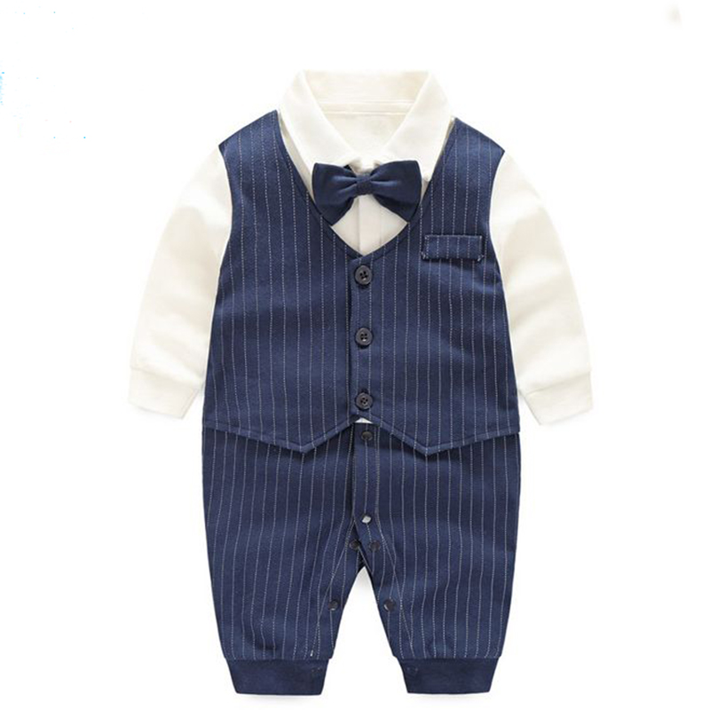 Baby Boy Gentleman Romper Winter Long Sleeve Infant Clothing Ropa Bebe Cotton Newborn Clothes Baby Jumpsuit Set Children Overall 2016 baby boy party suit 2pcs white gentleman suit striped romper infant boys clothes newborn clothing set terno infantil
