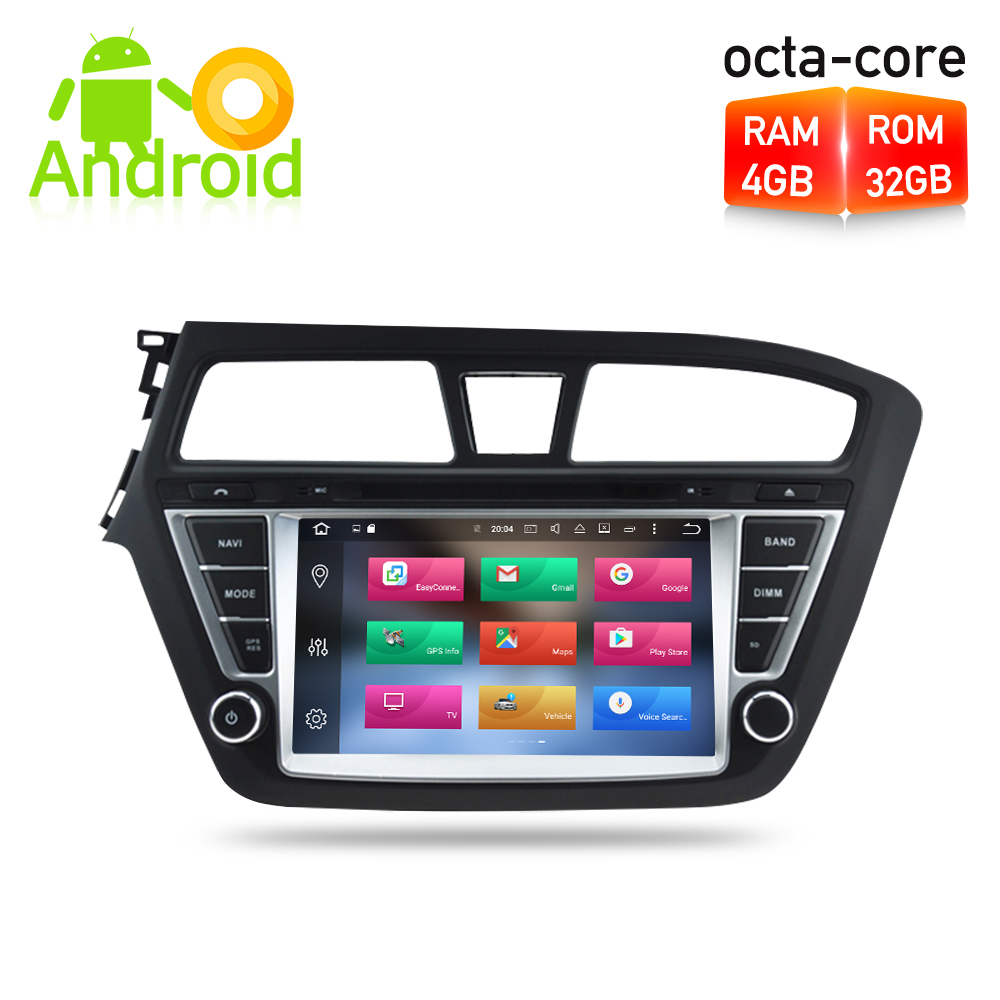 Android 8.0 Car DVD player GPS Navigation Multimedia Stereo For HYUNDAI I20 2015 Auto Radio Audio Headunit цена
