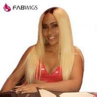 Fabwigs Ombre блондинка Синтетические волосы на кружеве человеческих волос Парики Бразильский Реми 1b/613 предварительно сорвал человеческих воло
