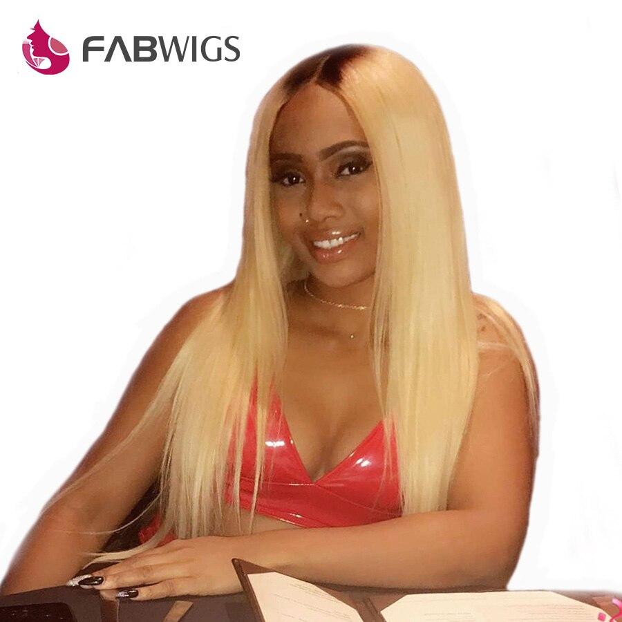Fabwigs Ombre Blonde Avant de Lacet Perruques de Cheveux Humains Brésiliens Remy 1b/613 Pré Pincées de Cheveux Humains Perruques pour les Femmes