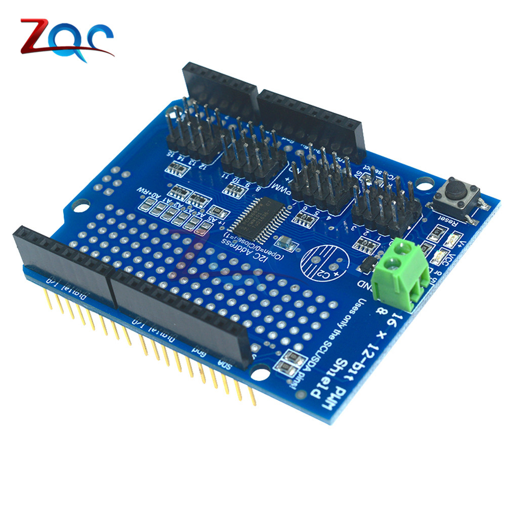 US $2 44 7% OFF|Servo shield 16 Channel 12 bit PWM Servo Driver I2C  interface PCA9685 for Arduino or Raspberry Pi shield Module-in Instrument  Parts &