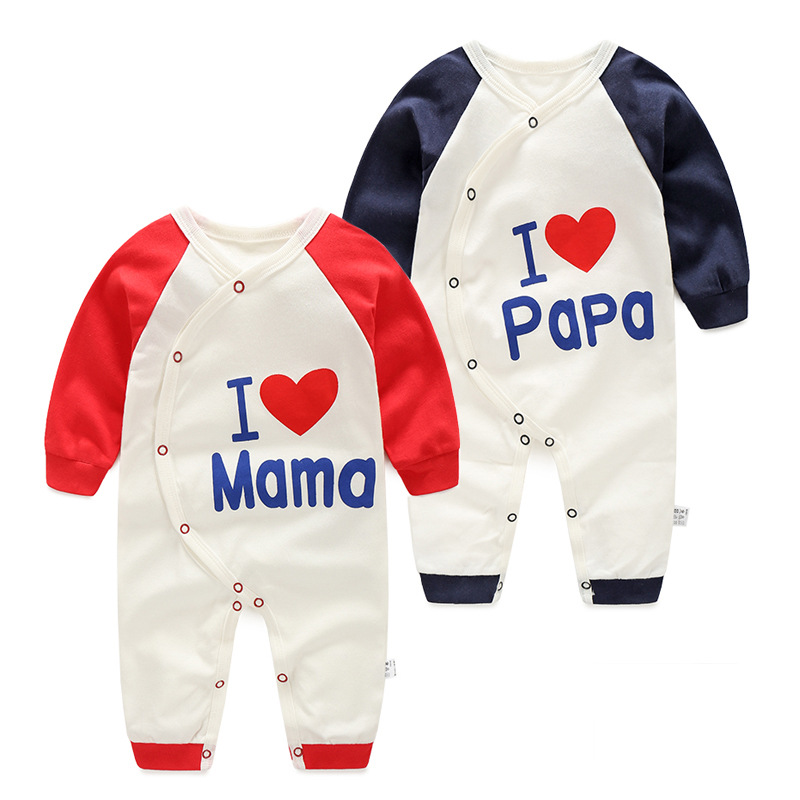 2016 new LOVE MAMA PAPA baby boy girl romper clothes one-piece newborn jumpsuit long sleeve costume baby infant clothing bebes baby rompers newborn infant clothing 2016 brand baby boy girl long sleeve one piece romper bamboo leaves toddler jumpsuit
