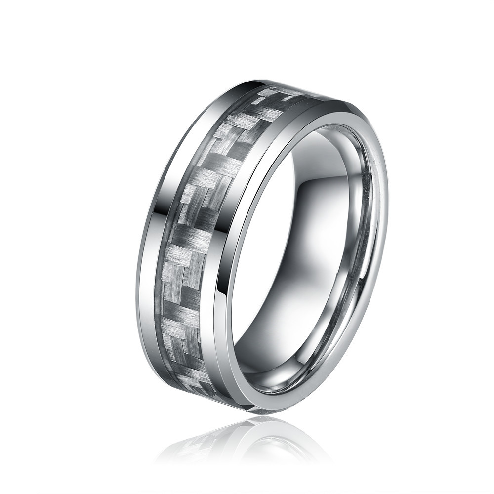 Carbon Fiber Diamontrigue Jewelry: 8MM Grey Carbon Fiber Tungsten Carbide Rings For Men