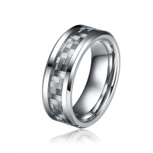 8MM Grey Carbon Fiber Tungsten Carbide Rings For Men Fashion Brand Jewelry Comfort Fit Wedding Band Size 7- 13 Tu008R