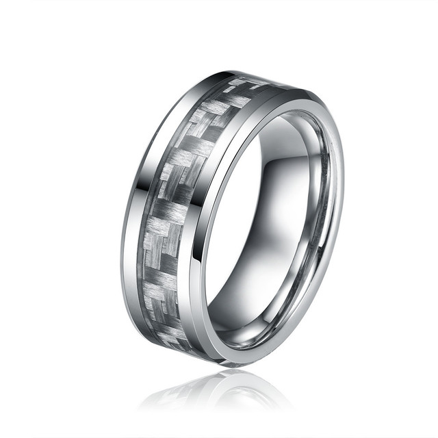 8MM Grey Carbon Fiber Tungsten Carbide Ring