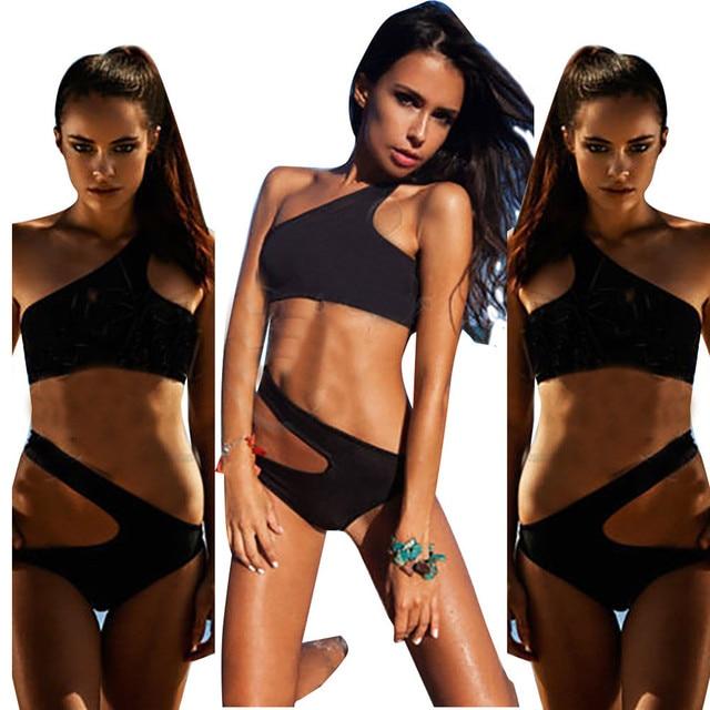 7a28b8baee Solid Black Modern Fit Strappy butt Bottom Scrunch bandage Bikini Set Bathing  Suit Sexy Brazilian Bikini Set