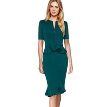 Plus Size S-4XL Ladies Office Formal Business Women Of High Quality Solid Color Cotton Pencil Dress Casual Bodycon Tops