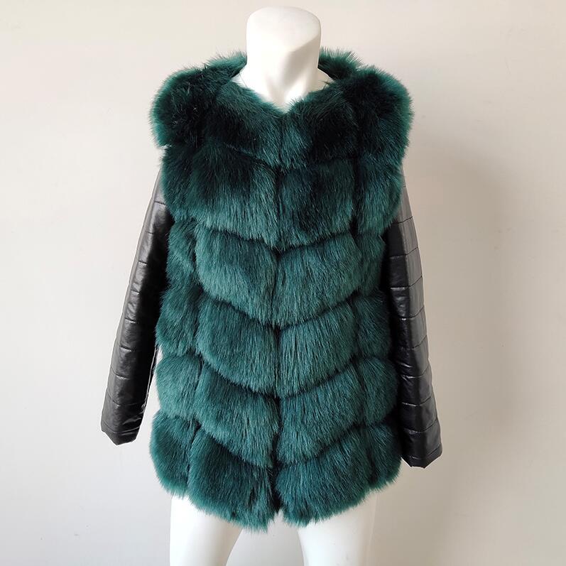 UPPIN шуба Новые Большие размеры меховое пальто с рукавами из искусственной кожи женская зимняя куртка из искусственного меха лисы Женская Осенняя модная теплая верхняя одежда пальто шуба из искусственного меха шубы - Цвет: Зеленый