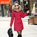 3 colors Plus size Women coat Winter 2016 New Fur collar Lady Parkas coats Long Female Clothing Slim Cotton-Padded Jackets M21