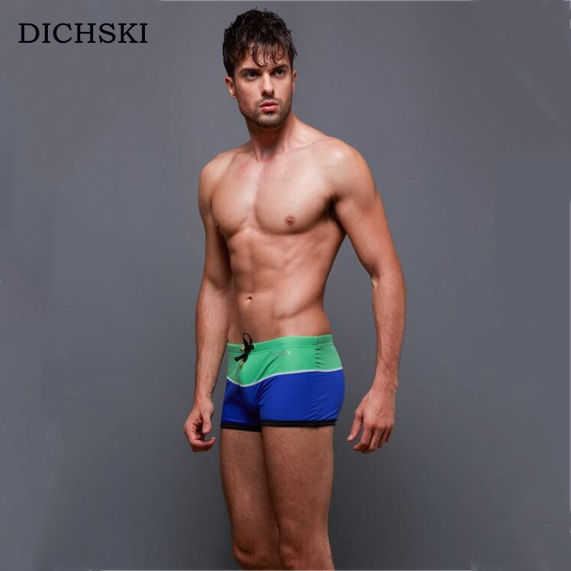 DICHSKI Patchwork Swimming Trunks Men's Beach Shorts Sexy Swimsuit Surf Board Hot Springs Sports Suit Men Swimwear Summer Briefs