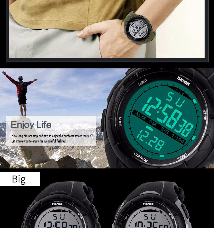 SKMEI Fashion Sport Watch Men Military Army Watches Alarm Clock Shock Resistant Waterproof Digital Watch Reloj Hombre 2019 New