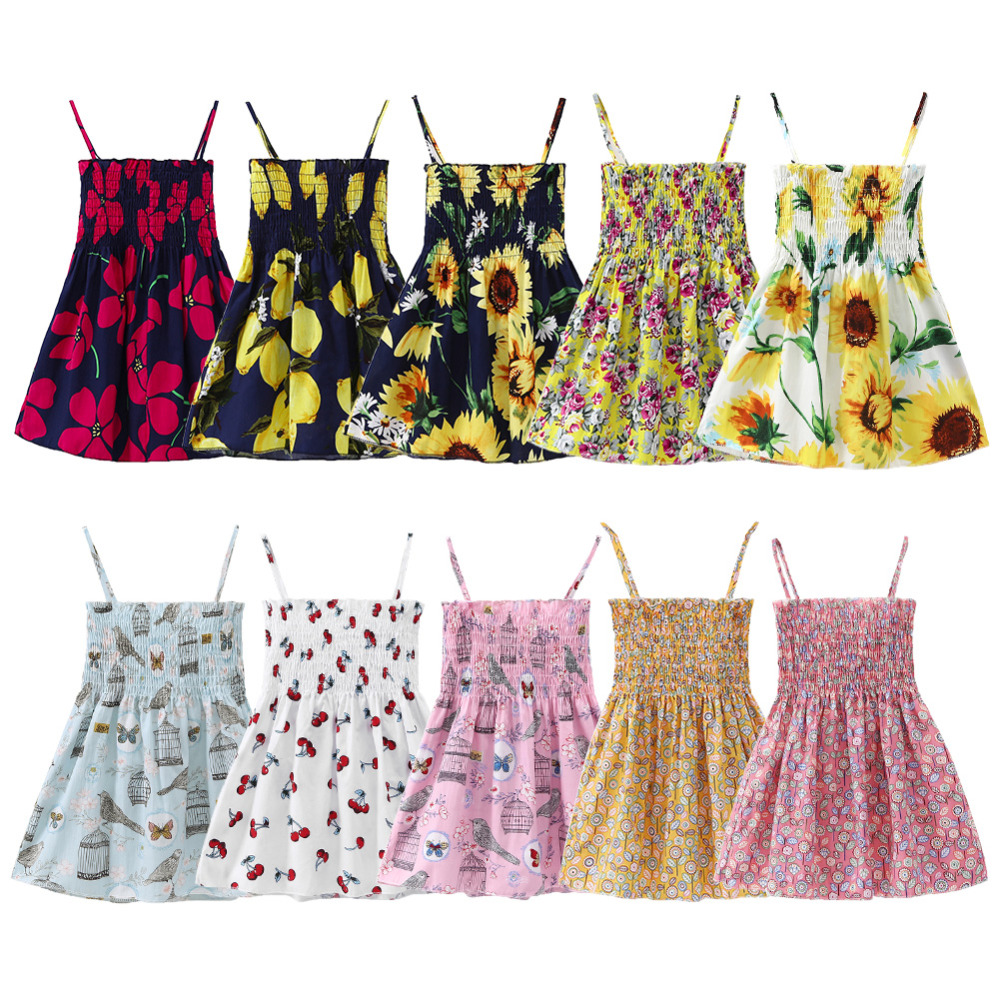 Summer Children Dress Kids Girls Sleeveless Flower Print Dress Soft Cotton Princess Dresses Girl Clothes Floral Backless Dress sun flower print pleated dress