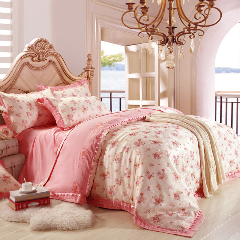 European Floral 100 Cotton Bedclothes Jacquard Luxury