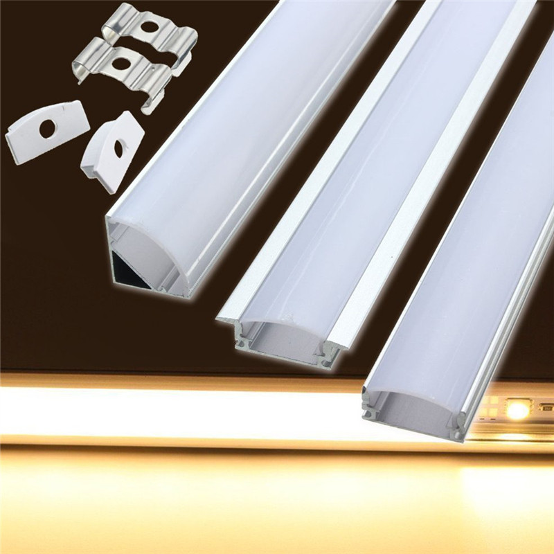 Modern 12v Kitchen Led Under Cabinet Lights Tubes 50cm: U/V/YW Style 30/50cm Aluminium Milk Cover Rigid Channel