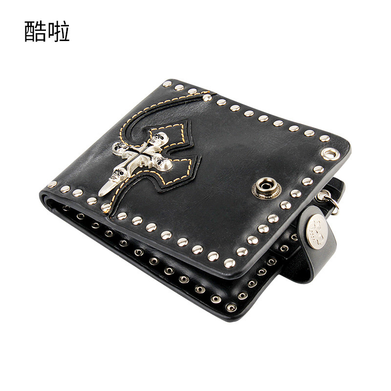 New Design Rock And Roll Men Wallet Casual Real Genuine Leather Women Rivet Retro Vintage Moto Skull Purse Short Punk Rocker Hot 2017 hot selling women punk wallet high grade fashion vintage bag wallets skull head rivet purse handbag brand long purse new