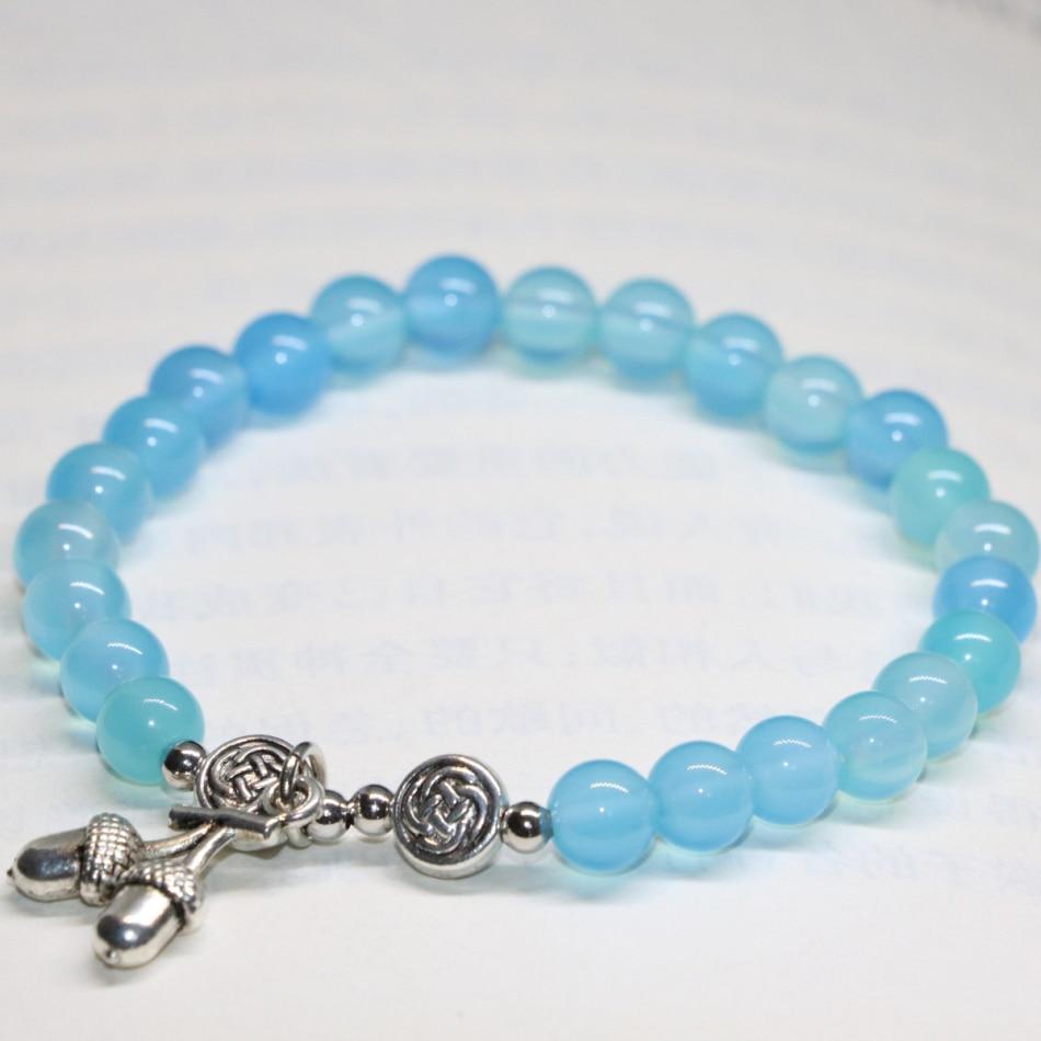 New fashion unique design elegant women bracelets natural stone blue agat onyx carnelian 6mm round beads jewelry 7.5inch B1943