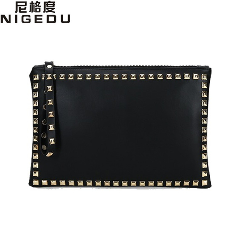 Rivet envelope bag fashion star style Ladies clutch purses Women's handbag Clutches evening bags Black and red bolsa feminina new 2015 fashion women day clutches shiny red and black evening clutch handbag female bolsa feminina pequena lady purse hand bag