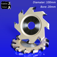 100mm 8 Teeth TCT Grooving Bit 6 Teeth Slotting Cutter 4 Milling Cutter For Woodworking Bore: 20mm Cutting Thickness 8 or 10mm