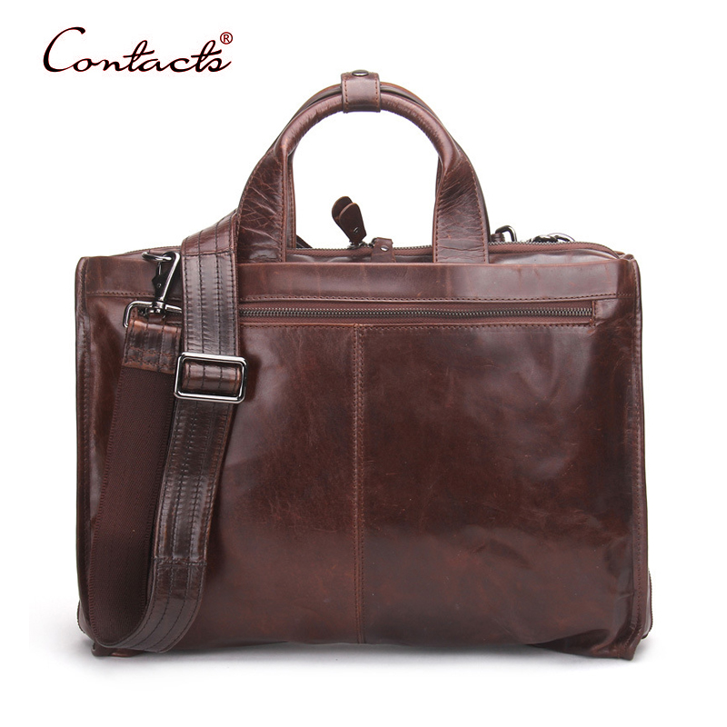 CONTACT'S Men Bags Genuine Leather Briefcase Handbags Crossbody Messenger Shoulder Portfolios Vintage Bag 2017 New Laptop Brand