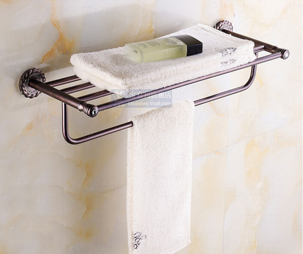 Wall Mounted Oil Rubbed Broze Towel Shelf Bathroom Double Towel Hangers Eurp Style newly design oil rubbed broze tooth brush holder 2 ceramic cups wall mounted