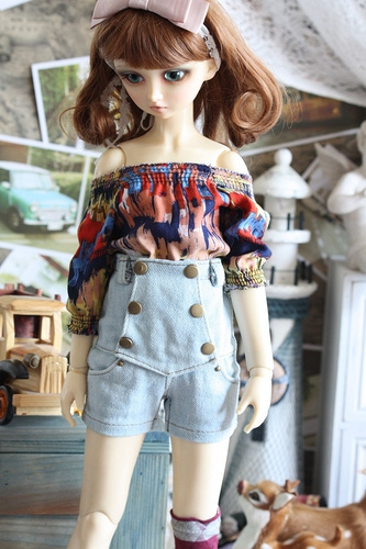 1/4 1/3 BJD SD doll female dress suits the modern wind high waisted denim shorts - dd sd16 sd10 msd marled loose top and high waisted shorts women s twinset
