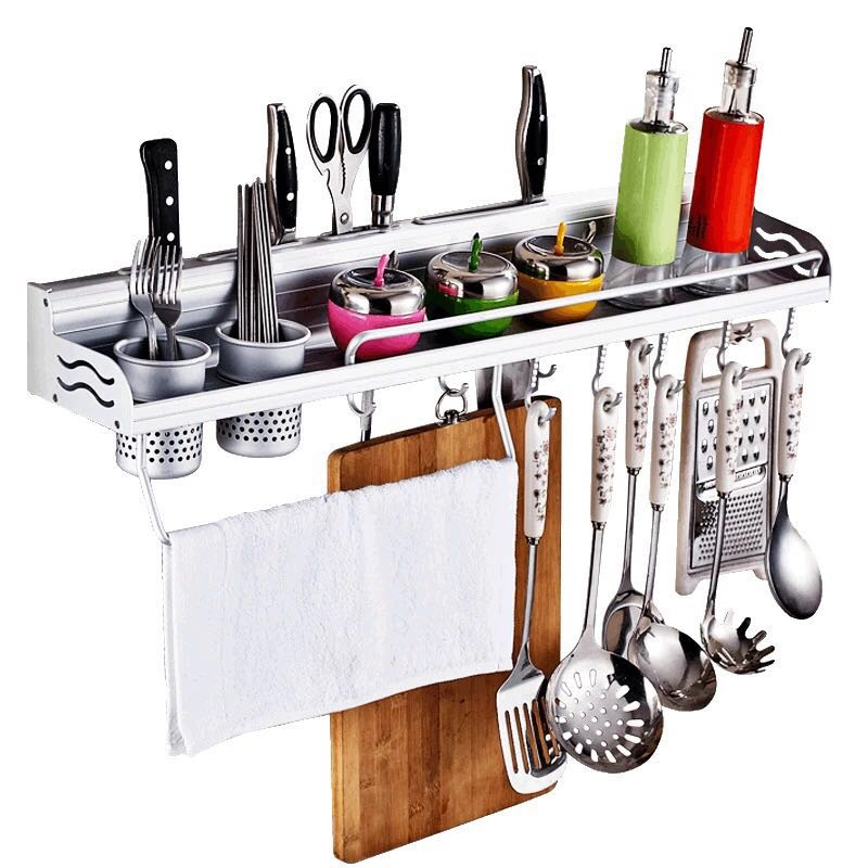 Space Aluminum Kitchen Storage Holders & Racks Kitchen Shelf Holder Tool Flavoring Rack Spice Rack Wall Mounted F