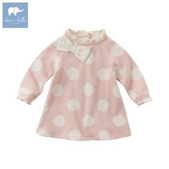DB5958 dave bella autumn baby Princess girl wedding birthday dress dots print children clothes infant Designs GIRL'S Vestido