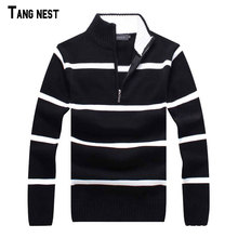 TANGNEST Pullover Men New Arrival Casual Style Mandarin Collar Striped Men's Sweaters Men Sweater Clothing Man MZL524