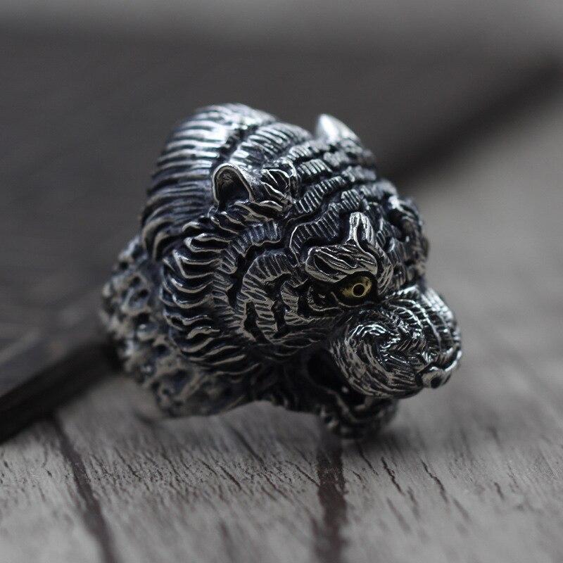 ✓Plata tailandesa retro domineering bestia rey anillo 925 joyería ...