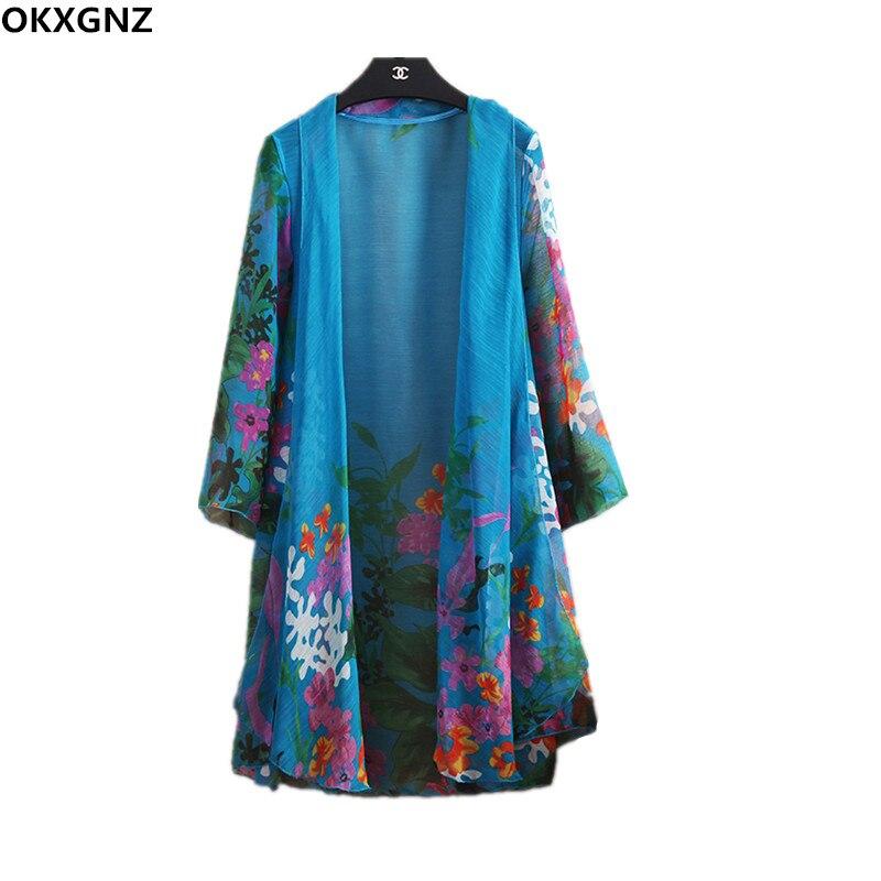 2017 Summer Women Long Blouses Chiffon Print Cardigan Coat Large Size Loose Beach Shawl Outside Take Sun Clothes Casual Tops 262