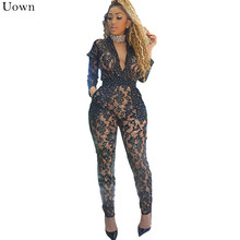 a861c7281fed Doyerl Sexy Sheer Black Lace Jumpsuit Bodysuit Women Sequin See Through  Hollow Out Long Sleeve Rompers