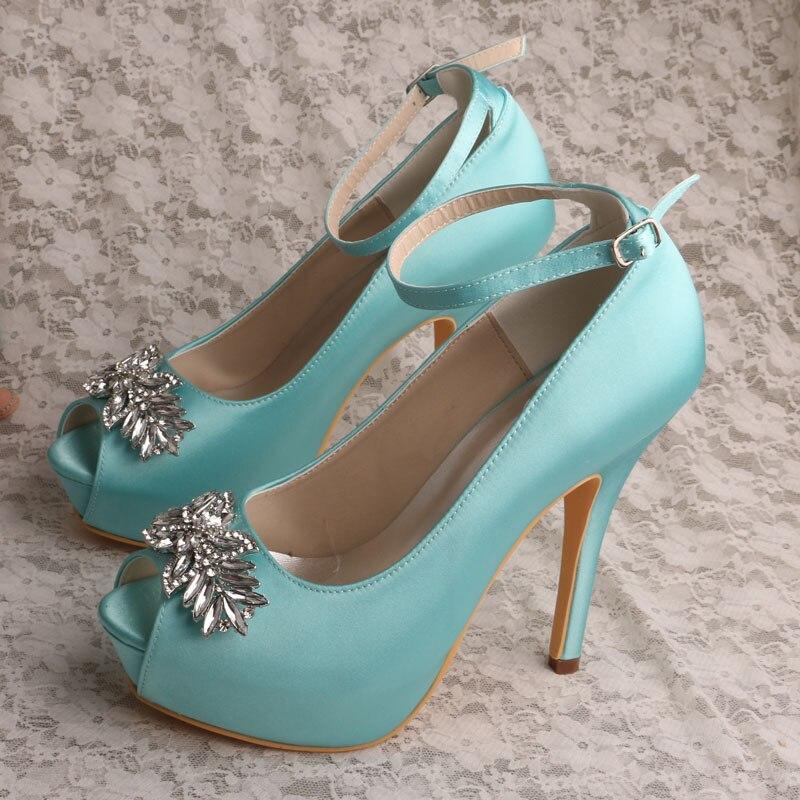 Wedopus Wedding Shoes Mint Green Platform Dress Shoes for Women Satin Pumps гаджет umbra spindle шкатулка mint 308712 473