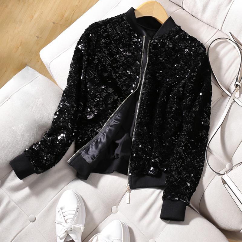 Noir O Manches Paillettes Nouveau Femmes Mode Casual Cou Court Longues 2018 Haute Printemps Conception Veste Zipper Manteau Qualité Nouveauté Bomber r0wRnxH0X4