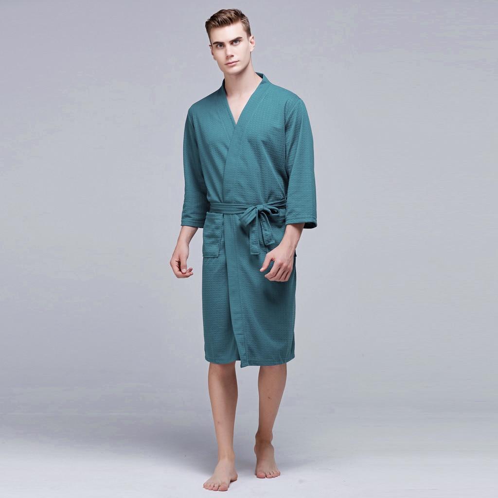 Men Winter Extra Mid-length Bathrobe Mens Luxury Kimono Bath Robe Women Sexy Robes Male Dressing Gown Nightwear Pajamas 2019(China)