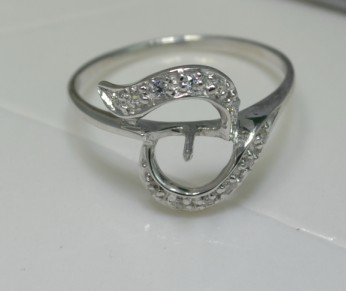 Customized Quality 925 Silver Coral, Jade, Pearl Ring Mounting Ring Setting, sold by 5pcs/ Lot -PR80