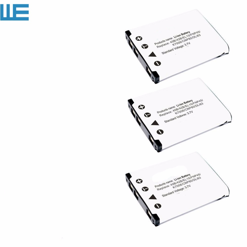 3PCS/Lot EN EL10 ENEL10 EL10 LI40B Battery for Nikon