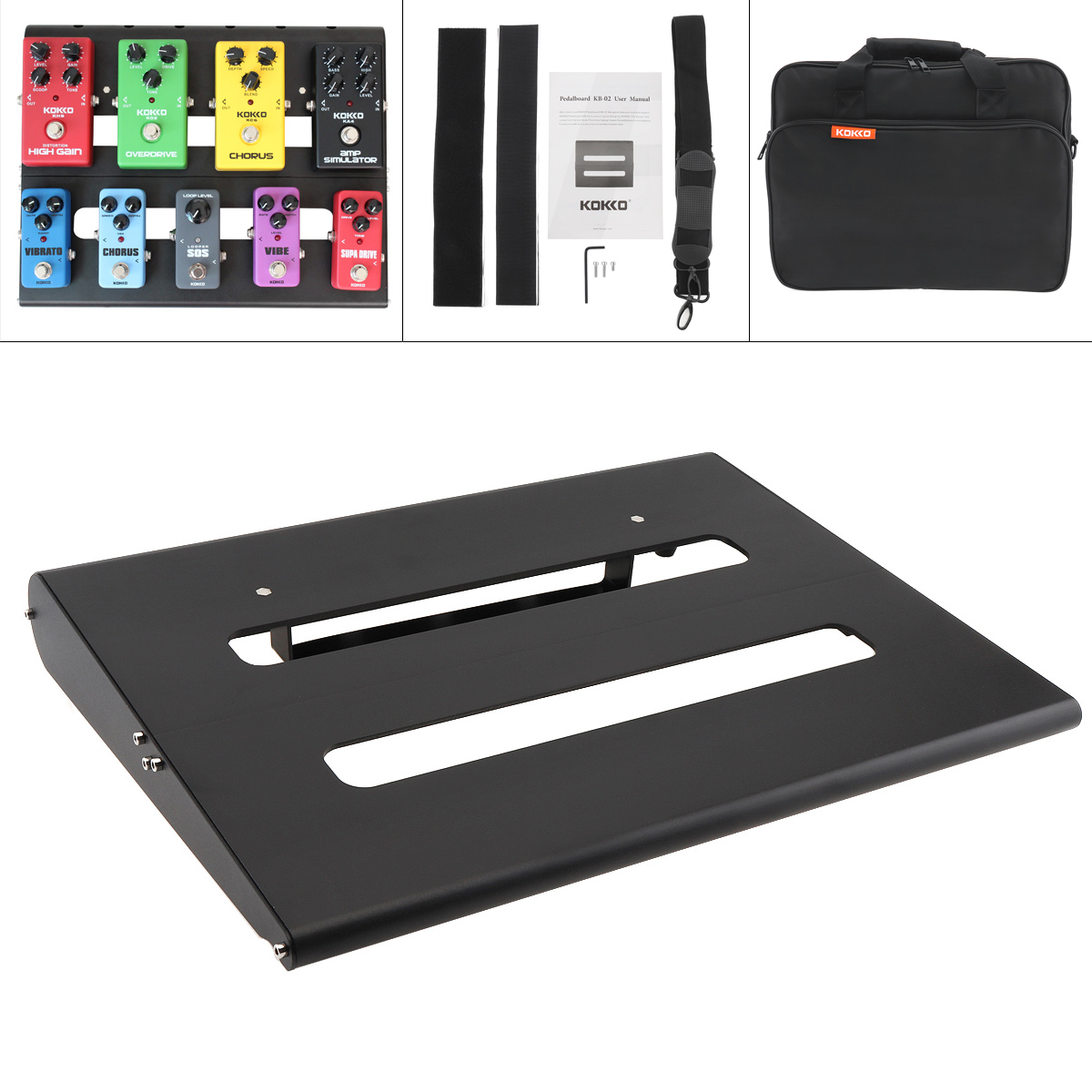 KOKKO Detachable 35 x 28cm Guitar Pedal Board Setup Style DIY Guitar Effect Pedalboard Support Placed